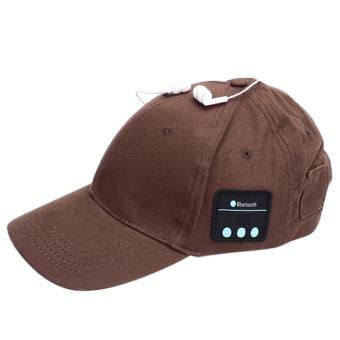 Wireless Bluetooth 4.0 Earphone Baseball Hat with Mic (Coffee) - intl