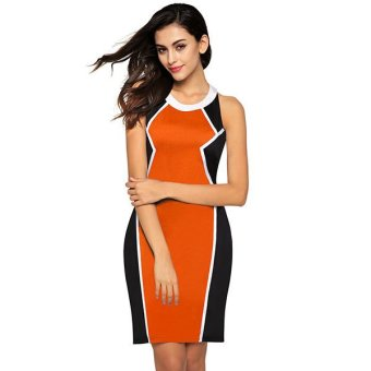 Cyber FINEJO Stylish Sexy Ladies Women Casual O-neck Sleeveless Slim Contrast Color Backless Mini Dress ( Orange ) - Intl