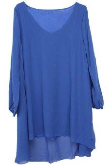 LALANG Short Mini Dress Navy Blue - Intl
