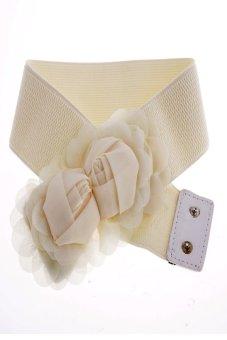 Double Rose Flower Buckle Style Elastic Belt Waistband (Beige) - Intl