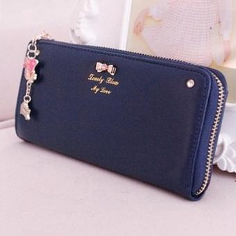 OEM Long Card Leather Purse (Blue) - Intl