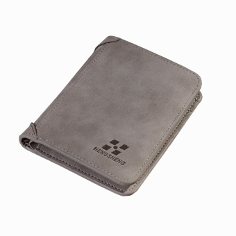 Cyber Men PU Leather Coin Purse Pockets Card Holder Clutch Wallet ( Light Grey ) - intl
