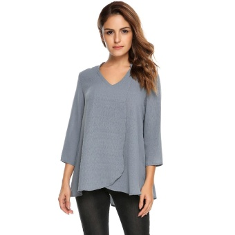 Cyber Women Casual V-Neck Three Quarter Sleeve Solid Front Cross Loose Chiffon Top ( Grey ) - intl