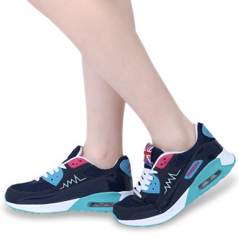 Fashionable Solid Color Patchwork Breathable Sports Shoes(Cyan and Black) - intl