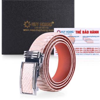 HL4367 - Dây nịt nam da trăn Huy Hoàng vip màu xanh hồng phấn