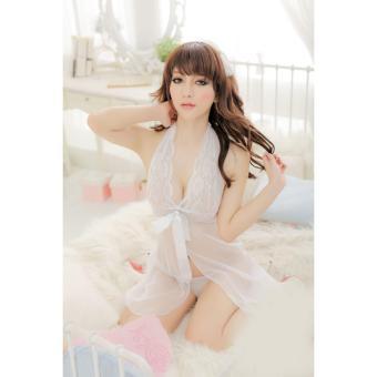 Áo ngủ yếm ren thắt nơ Chodeal24h (trắng)