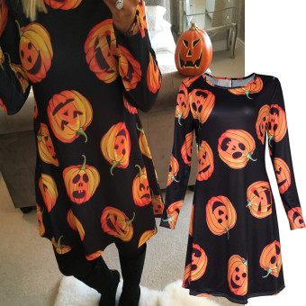 Women Halloween Pumpkin Print Long Sleeve Party Swing Mini Dress Black - intl