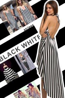 Sunweb Angvns Ladies Women Sexy Halter Sleeveless Splicing Striped Asymmetric Hem Backless Party Dress ( Black & White ) - intl