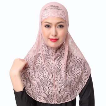 New Fashion Full Cover Muslim Hijab Two Piece Set Lace Solid Islamic Turban Cap Beanies Pink - intl