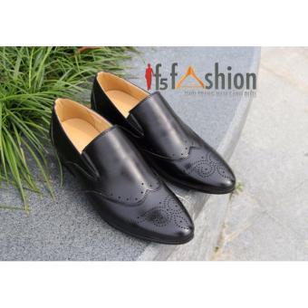Giày Nam Công Sở Hàn Quốc Màu Đen Có Họa Tiết Ở Mũi Giày HQ116