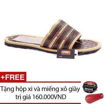 Dép quai ngang cao cấp Da Giày Việt Nam VNLL8AZA525QN (Nâu phối vàng) + Tặng hộp xi và miếng xỏ giày
