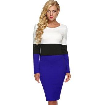 Cyber ANGVNS Women Long Sleeve Scoop Neck Slim Fit Bodycon Midi Dress (Blue) - Intl