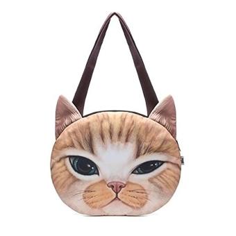 Women Cute Vintage Cat Face Shoulder Bag Handbag Yellow