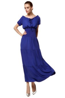Sunweb Ruffles Elastic Beach Chiffon Dresses Long Maxi Dress (Blue) - intl