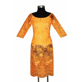 Áo dài cách tân ren thêu đính kim sa tay lửng Tri Lan AD009 (Cam)