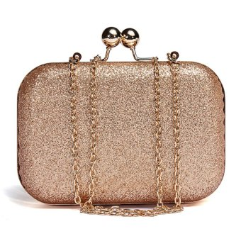 Women Lady Sparkling Glitter Chain Clutch Evening Party Shoulder Handbag Purse Gold - intl