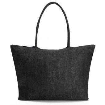 Women Summer Straw Weave Shoulder Tote Shopping Lady Beach Bag Purse Handbag HOT Black - intl