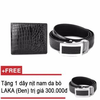 Bộ ví và thắt lưng nam da bò thật LAKA đen cá sấu + Tặng 01 thắt lưng nam da bò LAKA (đen trơn) trị giá 300000