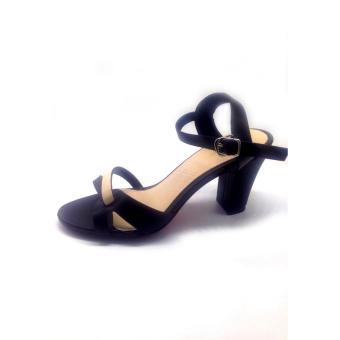 Giày sandal gót vuông quai dây Mattino ( Đen kem)