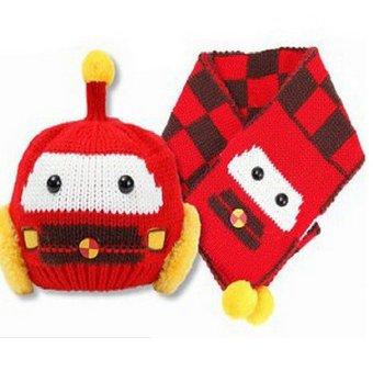 Bộ mũ khăn len robot ML09 (Đỏ)