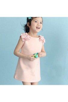 Moonar Summer Baby Kids Girls Flower Sleeveless Princess Dress (Pink)