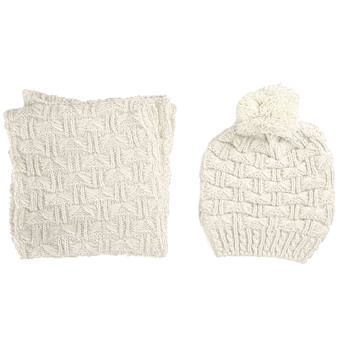 2 PCS Women Knitted Acrylic Woven Yarn Winter Warm Hat Cap + Scarf Set Christmas New Year Costume Gift Beige - intl