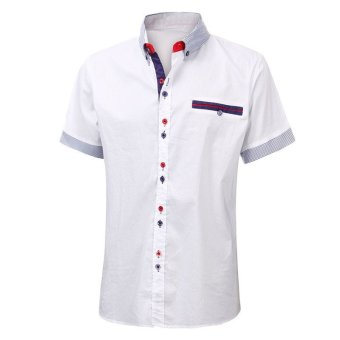Podom Mens Slim Fit Short Sleeve Casual Dress Shirt Formal Business T-Shirts Tee Tops (White) - Intl