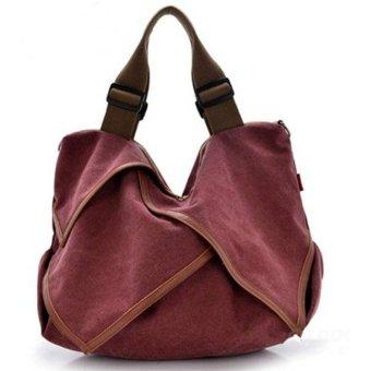 Lady Canvas Handbag Satchel Tote Crossbody Shoulder Bag wind red S - Intl