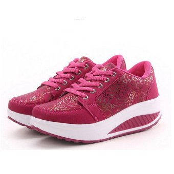 Women's Casual Shake Sneakers Shoes Non-slip Platform Shoes Rose - intl