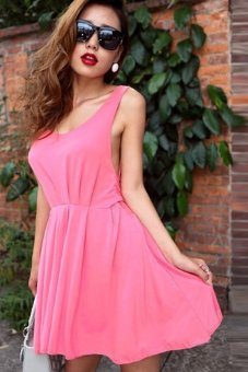 Cyber Stylish Sexy Women's Sleeveless Backless Party Mini Dress Red - Intl