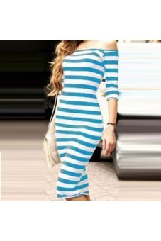 Moonar Women Stripe Half sleeve Slim Midi Dress (Blue) - Intl