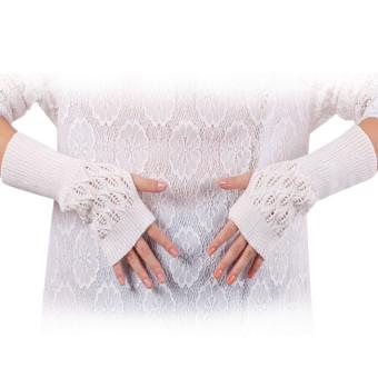 Knitted Fringe Warm Gloves White
