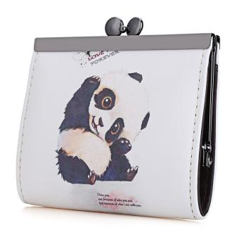 Vintage Panda Graffiti Oil Painting Metal Frame Purse Coin Case for Lady - intl