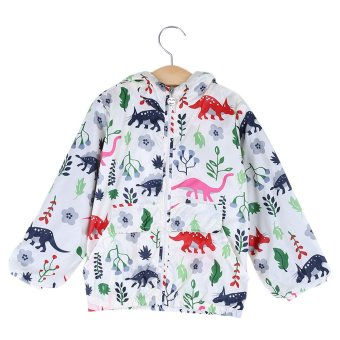 Breathable Floral Cartoon Animal Flower Plant Print Outdoor Hooded Long Sleeve Elastic Zipper Boy Coat - intl