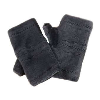 Winter Autumn Thick Warm Gloves Keyboard Leak Finger Gloves Brown - Intl
