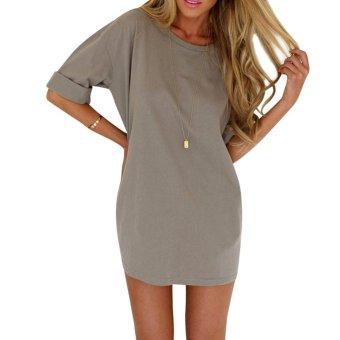 Women Chiffon Half Sleeve Loose A-Line Casual Dress (Grey) - intl