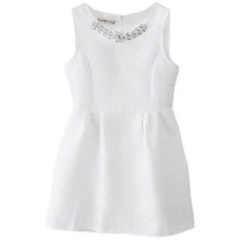 Women Ball Gown Dress Necklace Round Collar Pure Color (White) - Intl
