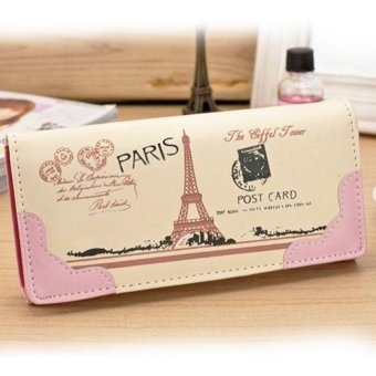 Moonar Multi-layer Long Clutch Wallet Effel Towel Pattern PU leather Card Holder (Pink) - intl
