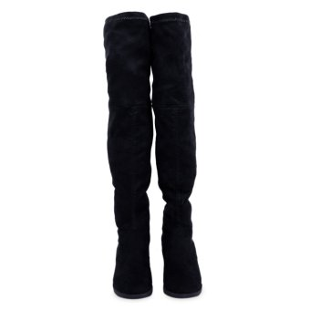 Retro Pure Color Suede Elastic Ladies Knee Boots(Black) - intl