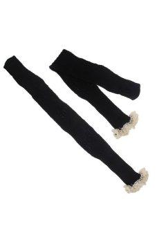 HKS Cotton Leg Warmers Crochet Knit Lace Trim Boot Socks Knee High Stockings Lady Black - intl