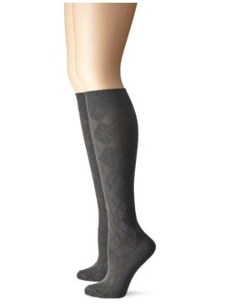 Bộ 2 đôi tất (vớ) nữ Xám Anne Klein Women's Microfiber Argyle Two-Pack Knee-High Socks (Mỹ)