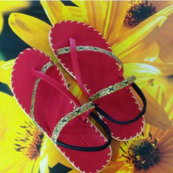 Sandal thổ cẩm nữ xỏ ngón (Đỏ)