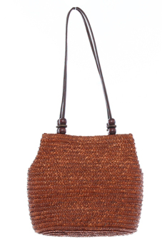 LALANG Chic Straw Woven Bags Women Retro Wooden Beads Coffee