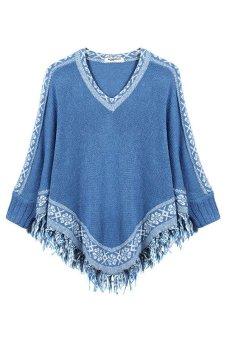 Cyber Zeagoo Fashion Women V-neck Batwing Sleeve Tassels Hem Cloak Knitting Loose Sweater (Blue) - Intl