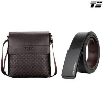 Bộ túi đeo chéo và dây lưng da nam thời trang THCB05