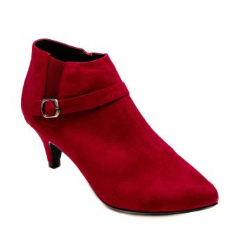 Giày bốt gót nhọn da lộn khóa nhỏ Mozy MZB36.1 (Đỏ)