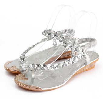 Women Rhinestone Sandals Slippers Open Toe Flip Flops Summer Beach Flat Shoes - Intl