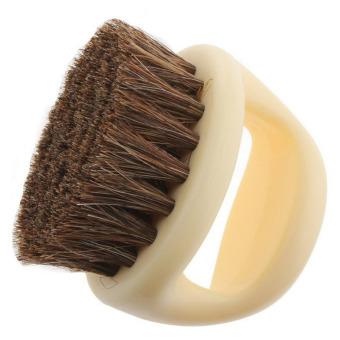 Mini Portable Round Shaped Horse Hair Shoe Leather Shoes Cleaning Polishing Dusting Brush - intl