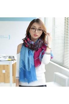 Moonar Women Fashion Long Flower Soft Voile Long Scarf Wrap Shawl (Blue) - Intl
