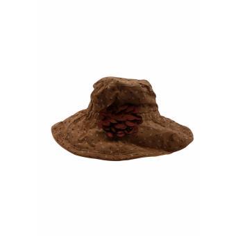 Mũ Vải Vành Rộng Vừa Phải Màu Nâu Chấm Bi SALOME FASHION